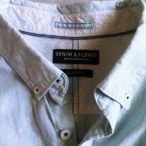 Denim and Flower short sleeve button down